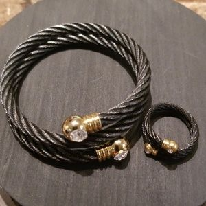 Jewelry - Vintage Black Wire Gold plated Bracelet & Ring Set